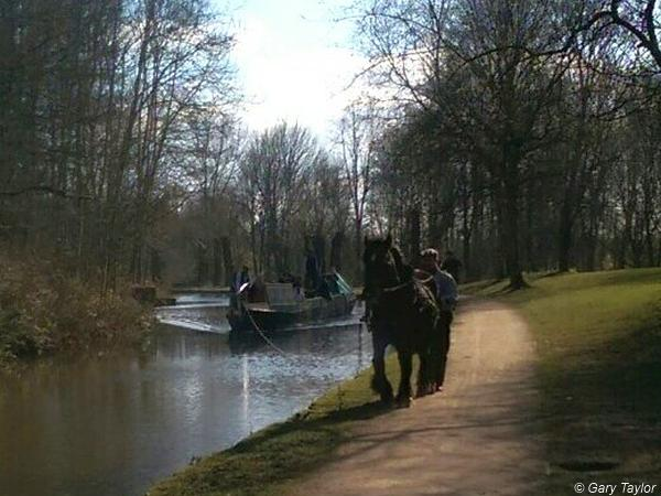 Towing backwards after filming on the Peak Forest Canal